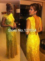 New Arrival Vestidos Elegant Yellow Lace Backless Floor Length Special Occasion Dress For Evening Party Long Prom Dresses