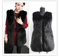 New Winter Faux Fur Vest Gilet Long Fox Fur Jacket Fashion Women FPC064