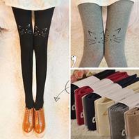 nz183 Free Shopping 1pcs 6color fashion Japanese embroidery pantyhose Prevent hook silk cute kitten trample feet knee socks