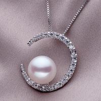 AAAA 2014 New Brand Designer Natural 100% Freshwater Pearl Romantic Luxury Moon Necklace Pendants#PN040