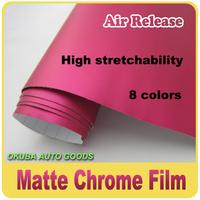 wholesale 2013 New 1.52*20m Rose Red Matte Chrome Car Decoration Matte Chrome Film Wrap With Bubble Free Via Fedex Free Shipping