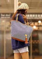 2014 Hot selling  Women's handbag stripe canvas bag chain tassel hangings handbag  fashion totes  Free shipping