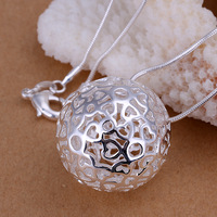 HOT wholesale 925 silver necklace hollow ball pendant necklace snake chain jewelry for girls gift
