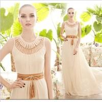 2014 Summer new temperament chiffon dress, women fashion sexy hollow out dress,Bohemian dress without belt