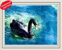 Free shipping DIY diamond painting diamond cross stitch kit Inlaid decorative painting Embroider Black Swan DM12240068