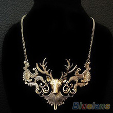 Hot Sale Retro Bronze Antique Silver Deer Head Pendant Necklace Great Gift for Men Jewelry