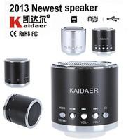 Free shipping 2013 Kaidaer silver black Portable Mini Radio Music MP3/4 Player SD/TF USB Speaker FM Radio Handfree