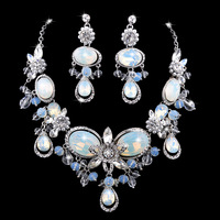 New 2014 Hot Sale Elegant European Style Top Swiss Crystal Bridal Wedding Jewelry Sets With Statement Necklace And Earrings