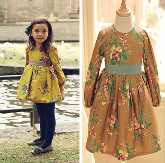 2014 New Autumn 5pc/lot Fashion Floral Print Long SLeeve Girl Dress For Kids Wear Collect waist Flower Baby Princess Dress(China (Mainland))