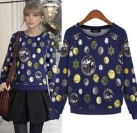2014  Free Shipping Spring Sweatshirt Fashion Women's O-neck Pattern Pullover T-shirt T19