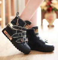 2014 New Fashion Girl's Fashion Three Buckle Zipper Spider Embellished Flat Sneaker Shoe Deep Blue/Black/Khaki Sent From Russia