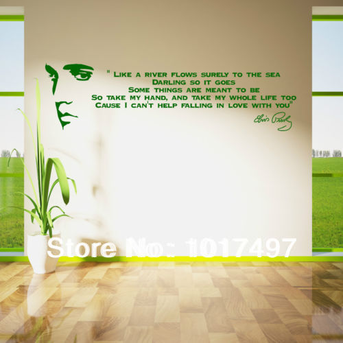 Free shipping like a river flows..ELVIS PRESLEY SONG LYRICS Vinyl Wall Art Sticker Quote