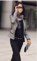 2013 New Free Shipping Formal Turn Collar Pockets Sides Suit CoatGrey sent from russia H10082308-1