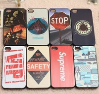 Branded VIP/STOP/SAFETY Letters Printed Painting Cases For Iphone 5/5S,Luxury Hard Housing For Iphone 4 4S Casing