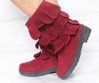 2014 New Women's Vogue Tassel Petal Style Winter Warm Flat Low Heel Rubber Boots Black/Brown/Purple/Red Sent From Russia