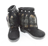 2014 New Women's Hot Sale Winter Warm Fur Tassels Rhinestone Ankle Pattern Boots Black/Brown Sent From Russia