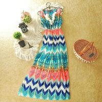 2014 retail new summer lady fashion chiffon chevron dress, Bohemian designer vacation beach zigzag clothing dress