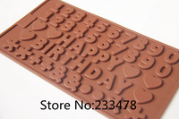 Free shipping Happy Birthday+Number+Character Silicone Baking Molds Fondant and Gum Paste Mold Cake Decoration Mold