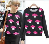 2014 New Free Shipping Spring Fashion Women's Plus Size Loose Hoodies Pullover Thickening Mushroom Basic Shirt Sweatshirt