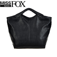 2014 New Winter Women Black Handbag Casual Large Bat shoulder handbag Fashion Vintage motorcycle Tote bag Free/Drop Shipping