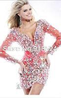Free Shipping Custom Long Sleeves Made rhinestone Mini Sheath dress Prom Formal Gowns Ball Dress Evening Party Dresses 2014