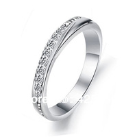 2014 New Bands Trendy Women Tension Mount Rhinestone Hot Lover's Couple 925 Single Row Rhinestones Ring Engagement Rings R5904