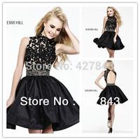 2014 Fashion High Collar Waist Beading A-line Satin Black Lace Homecoming Dress vestido de festa Short Mini Cocktail Party Dress