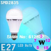 Factory directly sale 10pcs/lot High brightness 2835 SMD bulb led bulb lamps E27 3W 5W 7W 9W 12W 15W 110V-240V free shipping