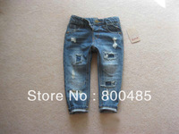Hot sell spring autumn children jeans Soft feet of new personality hole patch girl jeans