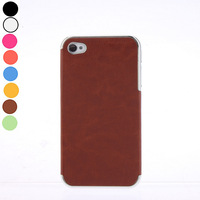 Mutlicolors Hard Coves Case Luxury PU Leather Chrome Frame Case for iPhone 4/4S Free Shipping