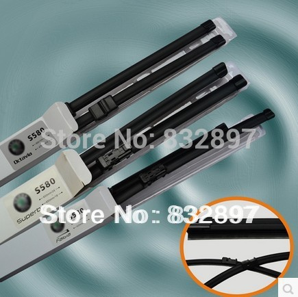 Free Shipping One pair Skoda Car Wiper Blade Soft silicone Rubber Wiper auto windshield wiper arm for fabia superb octavia(China (Mainland))
