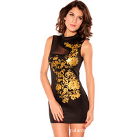2013 European and American fashion gold pattern tight black turtleneck women dress
