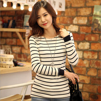 2013 autumn women's basic shirt long-sleeve loose stripe round neck Top T-shirt