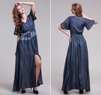 2014 New women's vintage patchwork viscose denim slim V-neck full dress elegant placketing maxi dress floor length