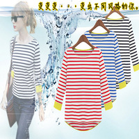 2013 Women Korean version bottoming shirt navy striped wind dovetail new hot ladies T-shirt