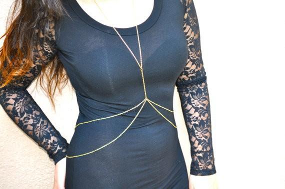 Hot Selling Fashion Women's 2-Layered Sexy Gold Waist Chain Women Body Chain Jewelry free shipping(China (Mainland))