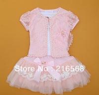 retail 2014 Newest 4-8 years Baby Girl 3 Piece Suits T-shirt+Coat+Skirt Kids Princess Tutu Dress Children Lapel Sets