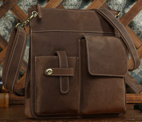 Small bag for man light brown color cowhide messenger shoulder bag leisure vintage style TIDING 1100