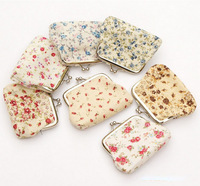 Lovely flower print cotton fabric metal button Coin Purses/Wallet Model 12 pieces/lot  K484