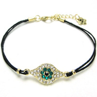 free shipping 6pcs/lot Fashion crystal jewelry blue evil eye bracelet turkey luster crystall accessories B56