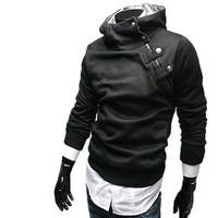 New 2014 Fashion Men Rabbit Fur Oblique Zipper Warm Slim Fit Casual Men Hoodies Pullover