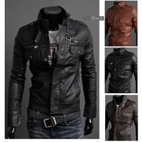 New 2014 Men Leather Jacket Korean Catwalks Shall Slim Leather Jacket PU High Quality 3 Color 4 Size Hot Sales