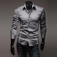Hot Sale New 2014 Fashion Men Casual Slim Fit Stylish Dress Shirt Male Long Sleeve Leisure Shirts