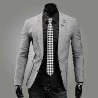 New 2014 fashion houndstooth cotton british style men slim small suit leisure two button single row blazer
