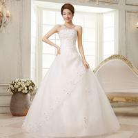 New 2014 Sweet Princess Wedding Dress Vintage Paillette Floral Off-Shoulder Lace Up Wedding Gowns Bride Dress