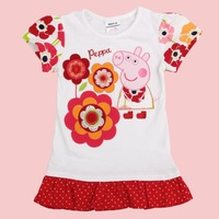 FREE SHIPPING K4379# 18m/6y 5pieces /lot tunic top pig embroidery summer short sleeve T-shirt for baby girls