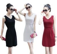 Women's sleeveless Dress Basic Dress Elegant Slim Above Knee One-Piece W3348