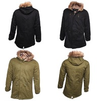 New Arrival 2014 Winter Men Parka Outwear Medium-Long Fleece Down Jacket Thickening Wool Hooded Coat Free Shipping 653986