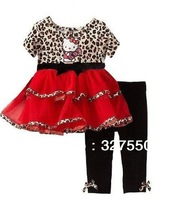 Retails leopard lace girl clothing set cartoon dress with solid pants 2pcs set, casual set skirt and pants Hello Kitty GDT-336