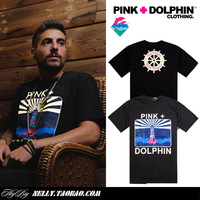 Big Promotion! Pink dolphin 2014 brand fashion male clothing short sleeve o-neck t-shirt lovers tee shirt top size S to XXL